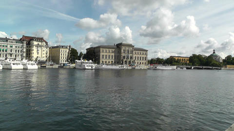 Stockholm Downtown 22 view from Gamla Stan with National... Stock Video Footage