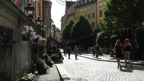 Stockholm Downtown 27 Gamla Stan Stock Video Footage