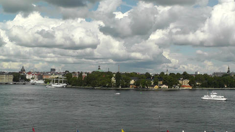Stockholm Downtown 45 pan Stock Video Footage