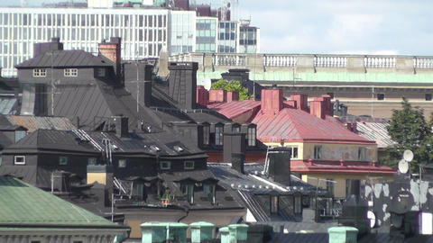 Stockholm Downtown 47 Rooftops in Gamla Stan Stock Video Footage