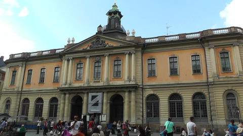 Stockholm Downtown 51 Swedish Academy in Gamla Stan Stock Video Footage