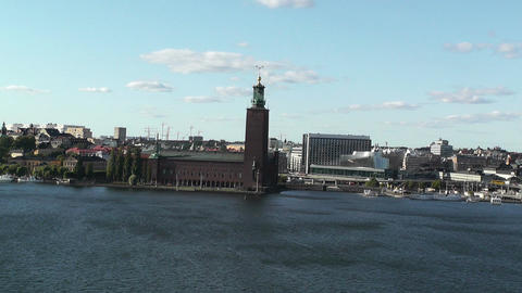 Stockholm pan from City Hall to Gamla Stan Stock Video Footage