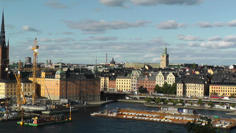 Stockholm pan from City Hall to Gamla Stan Footage