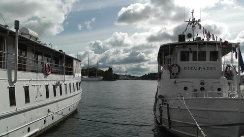 Stockholm Port 01 view from Gamla Stan Stock Video Footage