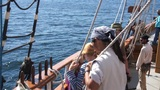 Crew Of The Hawaiian Chieftain Hauls Sails 14014 1 stock footage