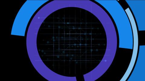 rotation computer circles interface & mesh,tech GPS... Stock Video Footage
