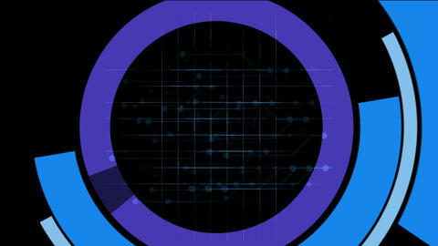 rotation computer circles interface & mesh,tech GPS tracking system & so Animation
