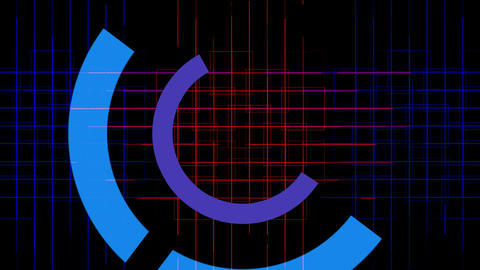 rotation computer circles interface & cross lines... Stock Video Footage