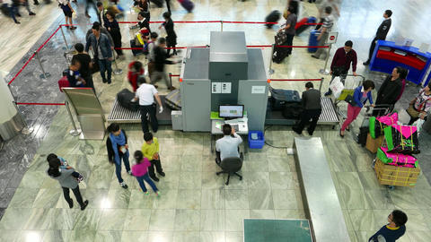 Passengers queue, security check scanner in airport, time lapse Footage