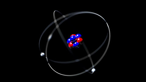 Atom rotating single nucleus proton neutron electron loop 4K Footage