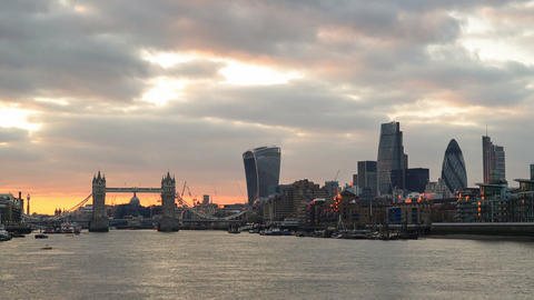 London Skyline with Tower Birdge and City skyscrapers at sunset Footage