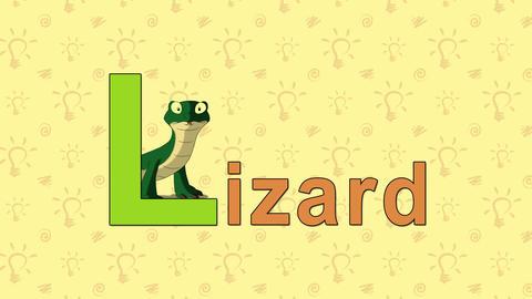 Lizard. English ZOO Alphabet - letter L Footage