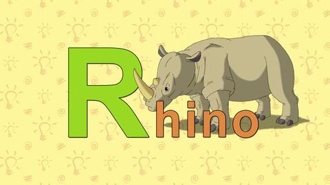 Rhino. English ZOO Alphabet - letter R Footage