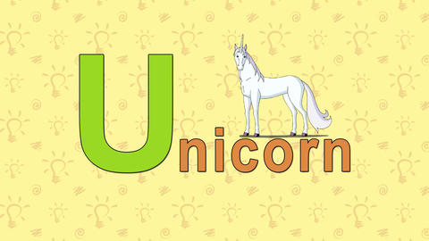 Unicorn. English ZOO Alphabet - letter U Live Action
