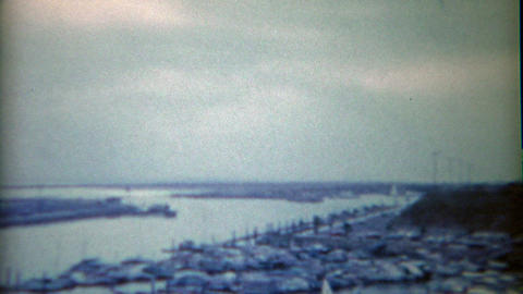 1954: Gulf Pleasure Sport Boating Harbor And Construction Of The Harbormaster Ho stock footage