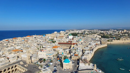 Aerial Footage Of The Port And Old City Of Acre, Israel stock footage