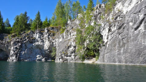 Marble quarry in Ruskeala, Karelia, pan view Footage