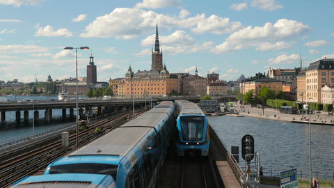 subway train in a center of Stockholm, Sweden Stock Video Footage