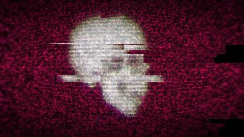Damaged Display With Skull Loop Animation