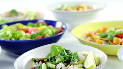 Variation of salads in bowl Footage