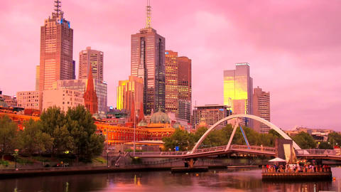 Southgate Bridge City Melbourne. a View of the Footbridge . the Bridge People Wa Footage