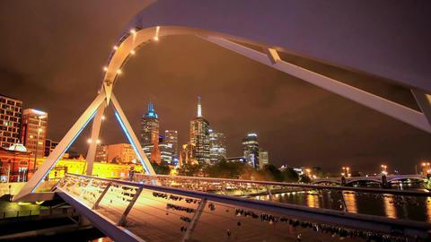Southgate Bridge City Melbourne. a View of the Footbridge . the Bridge People Wa Footage