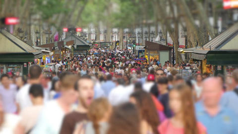 Crowded Les Rambles Boulevard in Downtown Barcelona Blurred Footage