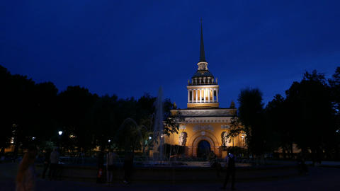 Night view of Admiralty building from park square, elegant architecture