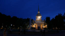 Night view of Admiralty building from park square, elegant architecture GIF