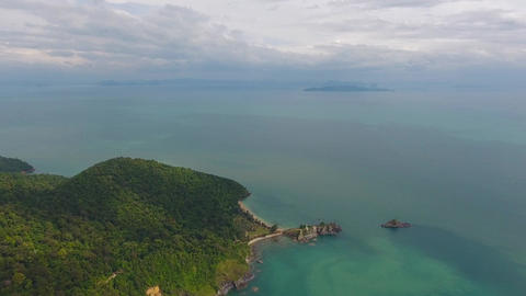 Aerial video of rocks, lighthouse and sea on Lanta Footage