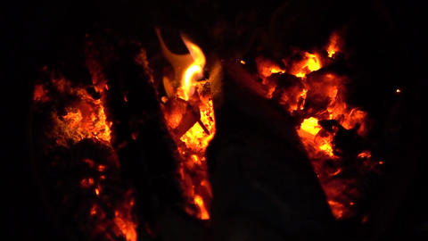 Bonfire At Night Slow Motion Footage