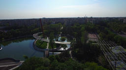 Aerial view of park in Bucharest, Romania Footage