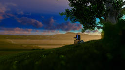 Grandfather on green meadow, resting under a tree, morning sun, tilt Animation