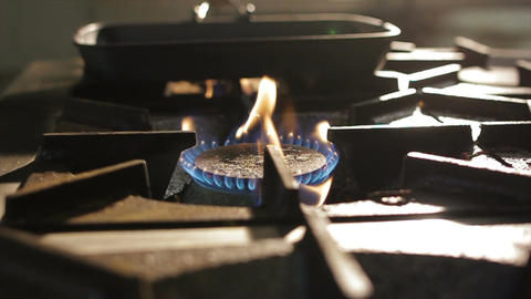 Close View Burner Open Flame of Gas Stove Footage