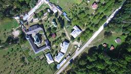 Polovragi Monastery, Romania aerial upper view Footage