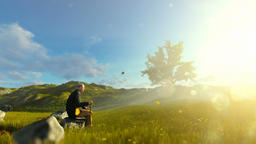 Grandfather on green meadow enjoying the sunset, panning Animation