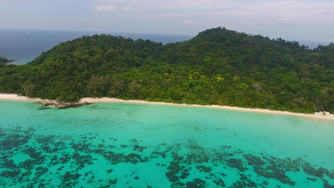 Aerial video of beach, rocks and sea in Thailand Footage