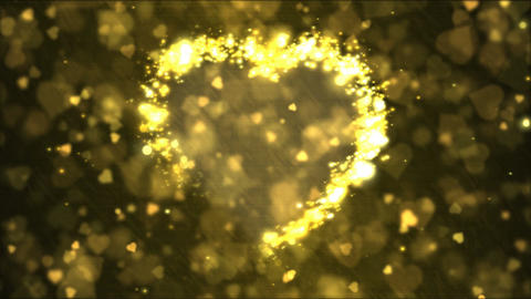 Heart Shape Motion Background Animation - Loop Yellow Animation