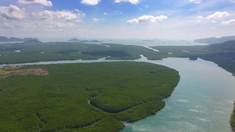 Aerial video of estuaries and strait on Ko Lanta Footage