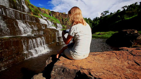 Mother Sits Holds on Knees Little Girl Shows Waterfall Pongour Footage