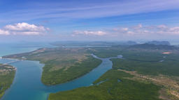 Aerial 360 panorama view on estuaries and strait Footage