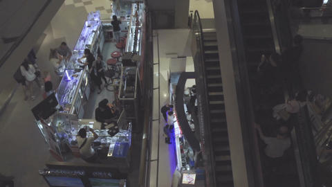 Unrecognizable people walking in shopping center Footage