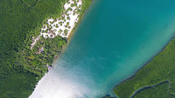 Top view aerial video of estuaries and strait Footage