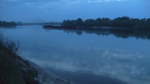 Cargo Barge on the River Footage