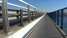 Crossing a Bridge in Portimao Stock Video Footage