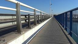Crossing a Bridge in Portimao Footage