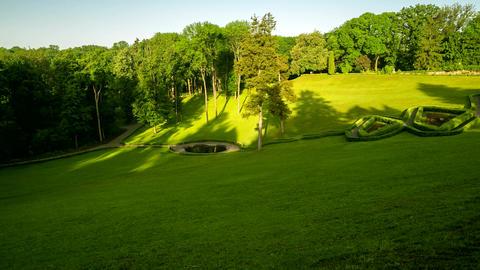 Hyperlapse of landscape in Arboretum Sofiyivka Park, Ukraine. 4k footage Footage