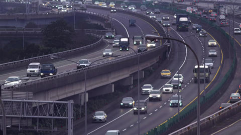 Busy highway traffic in Taipei, Taiwan Footage