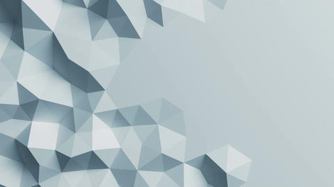White Low Poly Surface Moving in Abstract 3d Animation. Seamless Background in 4 Animation