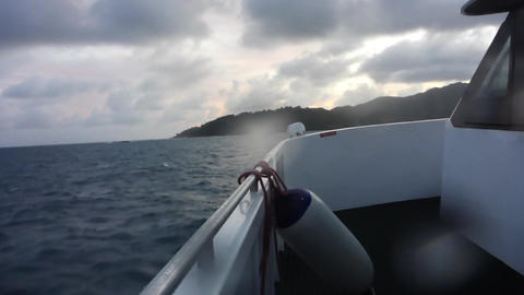Ship on Indian Ocean at sunset, Seychelles Footage